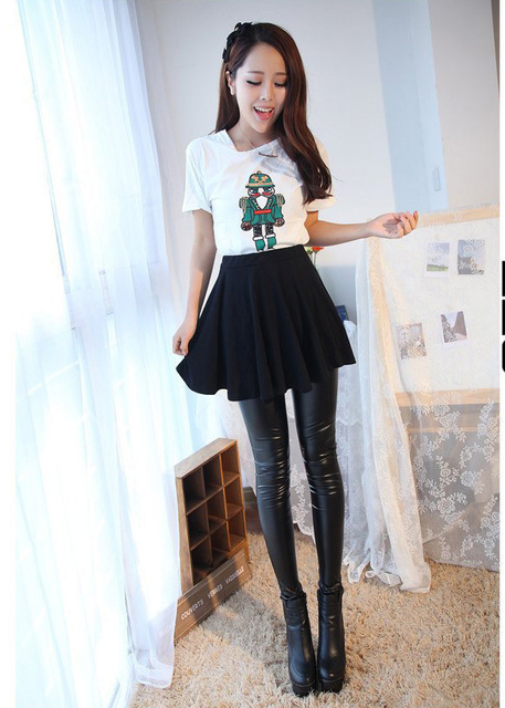 f67ea323b9e4a Free shipping Fashion good thin figure black girls' leggings fitness  Imitate leather pants legings jeggings leggins 03