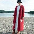 Vestes Johnature Casaco Bordado Floral de Algodão Mulheres Solto Grosso Vermelho 2016 Do Inverno Do Vintage Plus Size Algodão Casual Quente Casaco Parkas