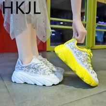 HKJL Korean version 2019 summer new sponge cake thick bottom water drill mesh shoes breathable sneaker women A561
