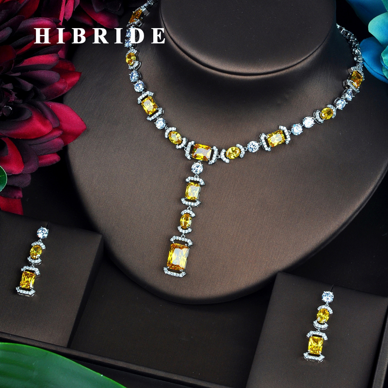 HIBRIDE Briliant Yellow AAA CZ Jewelry Sets For Women Luxury Necklace Set Wedding Dress Accessories Party