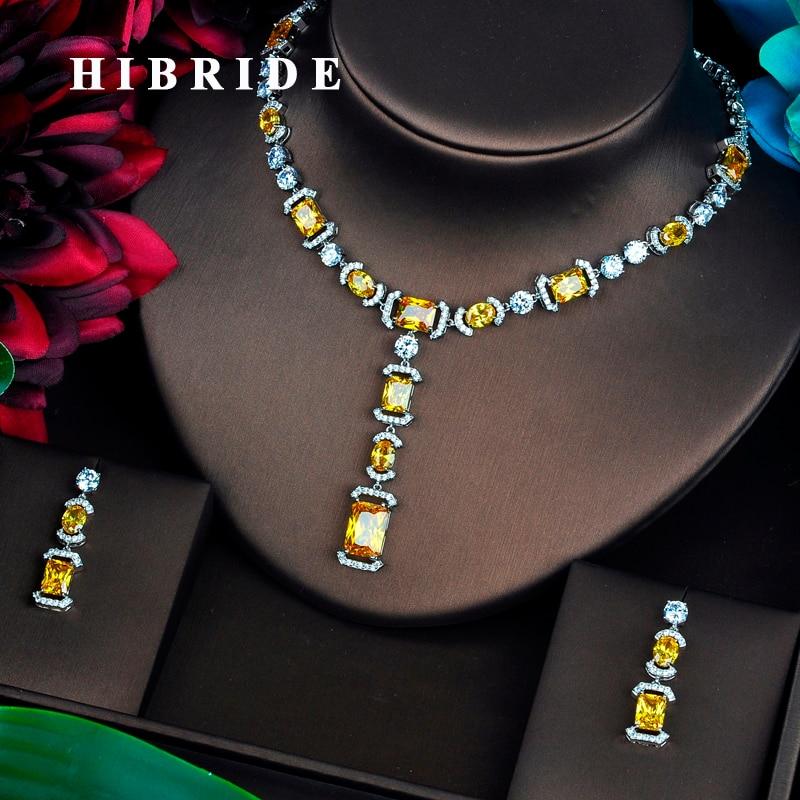 HIBRIDE ブリリアント黄色 AAA CZ ジュエリーセット女性の高級ネックレスセットウェディングドレスのアクセサリーパーティーショー卸売 N 465  グループ上の ジュエリー & アクセサリー からの ジュエリーセット の中 1