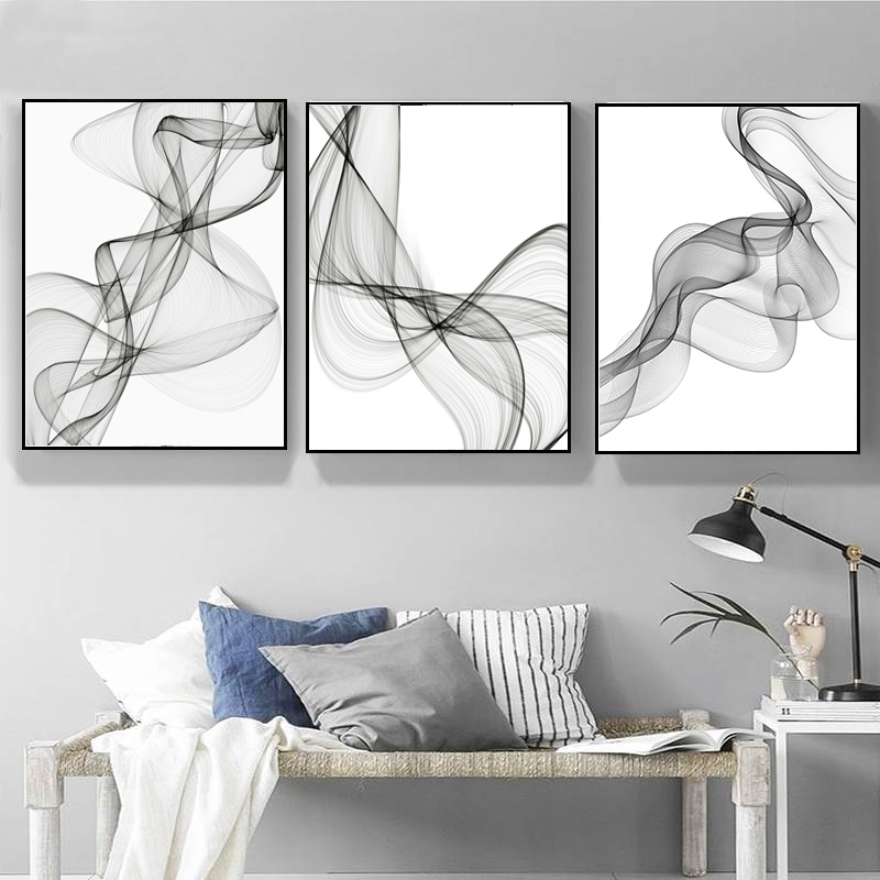 Sure Life Abstract Modern Moving Line Canvas Paintings Black And White Poster Print Wall Art Pictures Living Room Home Decor