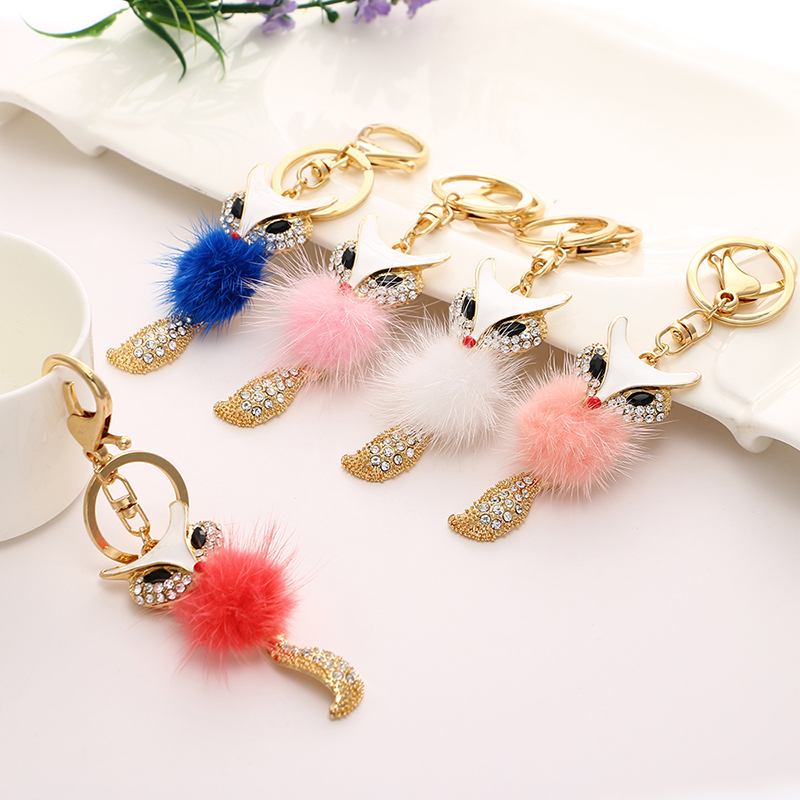 Lovely fox rabbit hair ball fuzzy key chain ring rhinestone crystal pendant keyring  women ysk 016-in Key Chains from Jewelry   Accessories on Aliexpress.com ... 3e204fa194