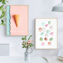 Nordic Decoration Canvan Painting Poster Restaurant Hang Food Macaron Cookies Picture Mural Creative   Pineapple No Framed