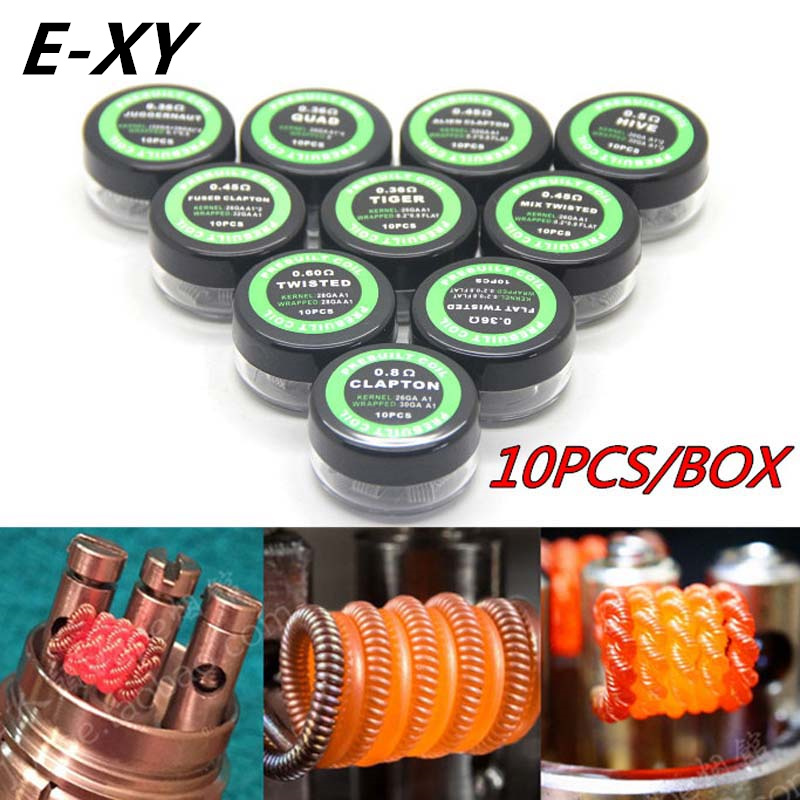 E-XY Flat Twisted Wire Fused Clapton Hive Premade Wrap Wires Alien Mix Twisted Quad Tiger Coils Heating Resistance Rda Coil