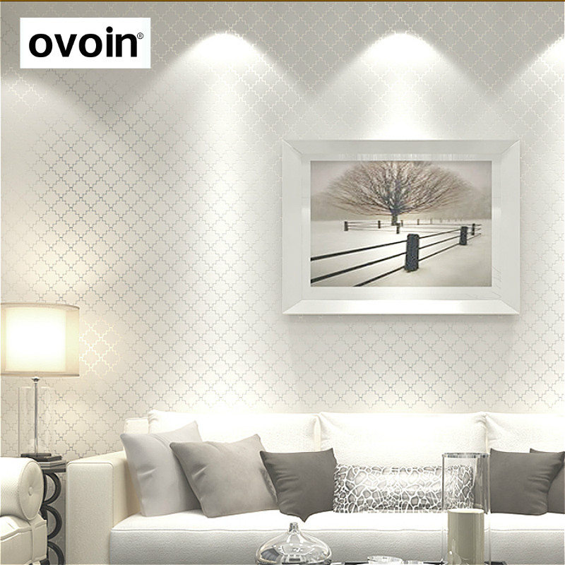 Modern Plain Solid Color Wallpaper For Walls Roll Beige White Black Metallic Textured Grid non woven Wall Paper For Bedroom Room