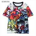Hiawatha Rabisco Digital Impresso Camisetas Mulheres Moda Harajuku Cores Camisetas Plus Size Casual Tops Soltos O-pescoço Tees T2969