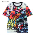 Hiawatha Scrawl Digital Printed T-shirts Women Fashion Harajuku Colours T Shirts Plus Size Casual Loose Tops O-neck Tees T2969