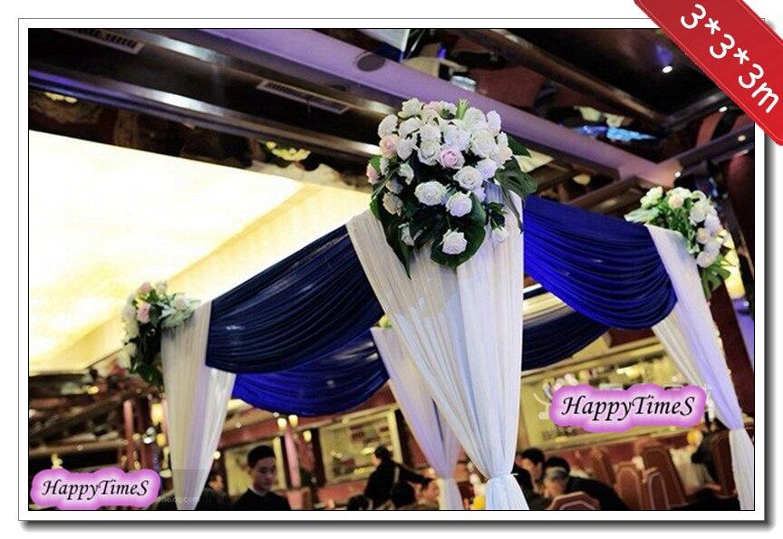 333m Wedding Decoration Royal Blue Square Ice Slik Fabric Canopy
