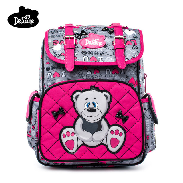 Delune Kids Orthopedic Backpack 5 8 Years Children Cartoon Bear Waterproof School Bag Girls Boys Birthday Gifts Mochila Infantil