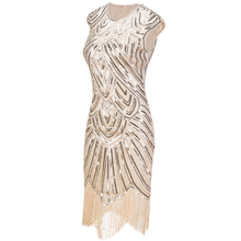 Vintage 1920s Flapper O-Neck Sequin Tassel Dress