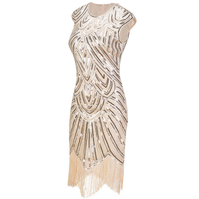 6d07b5b94b3b Vintage 1920s Flapper Great Gatsby Dress O-Neck Cap Sleeve Sequin Fringe  Party Midi Dress