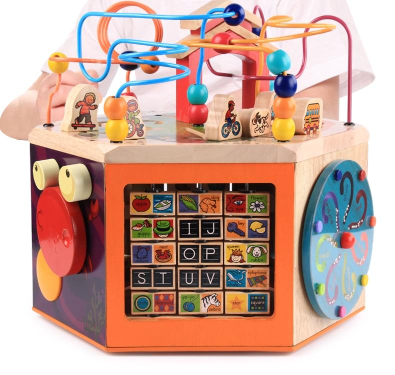 Boîte à trésors de musique grandes perles rondes jouets éducatifs hexahédraux un an bébé femme 1-2 semaines 3 bébé enfant main en bois