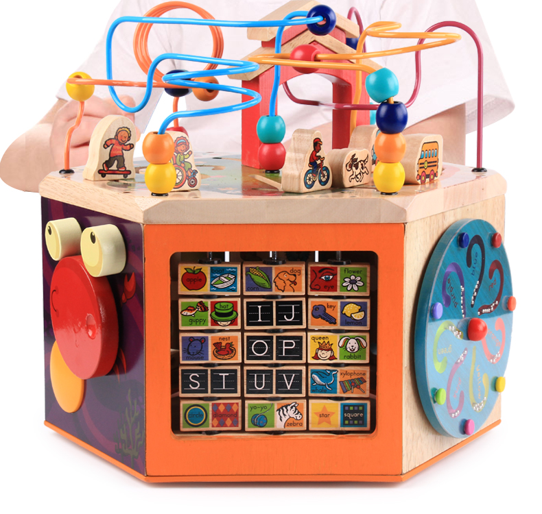 Musique Boîte à Trésor Grand Rond Perles Hexaédrique Jouets Éducatifs Un année Vieux Bébé Femelle 1-2 Semaines 3 Infantile Enfant En Bois main