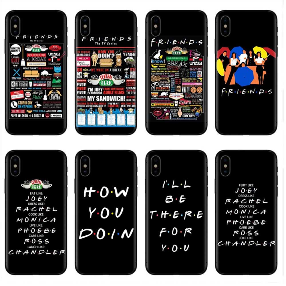 Central Perk Coffee friends tv show how you doin Black silicone Phone Case Cover For iPhone X XS XR MAX 5 5 6 6 7 7 8 8 Plus S E
