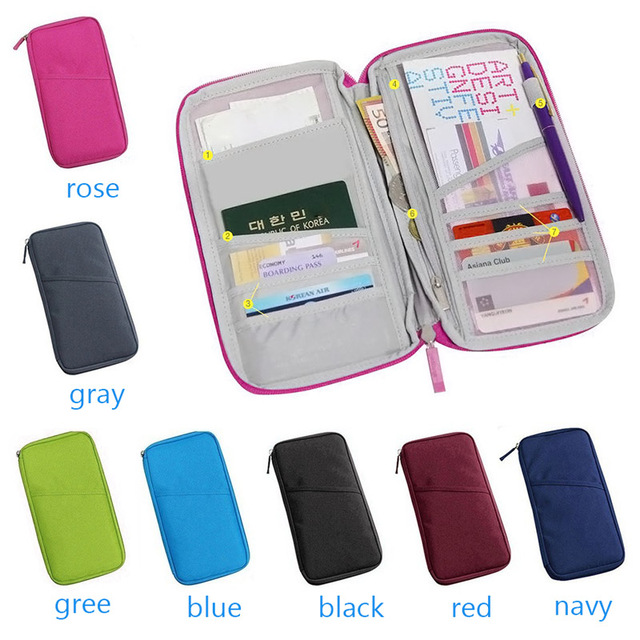 f78c9f7d1949 US $1.55 14% OFF|Wan Women Travel Passport Bag Credit ID Card Holders Cash  Wallet Purse Documents Case Zipper Organizer Belt Unisex Carteira-in Card &  ...