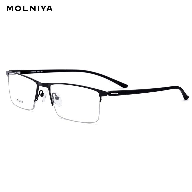 Brand TR90 Titanium Optical Glasses Frame Men 2019 New Half Square Myopia Eye Glass Prescription Eyeglasses Korean Eyewear in Men 39 s Eyewear Frames from Apparel Accessories