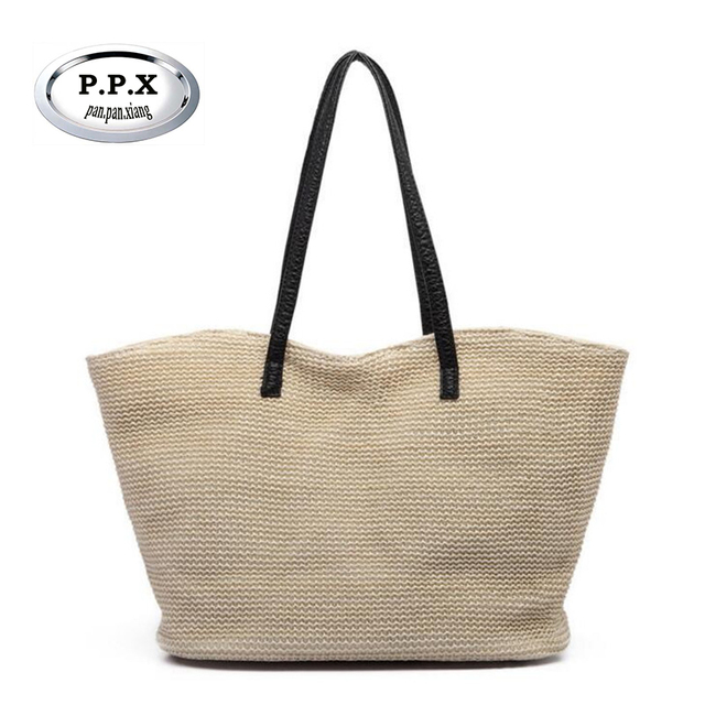P X Summer Straw Tote Bag Women S Navy Style Rope Travel Weave Ping Beach