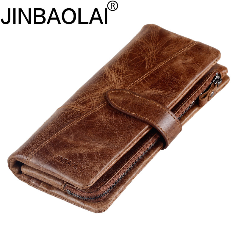 Long Badge Business Card Holder Clutch Men Wallet Male Purse Cuzdan Genuine Leather For Money Bag Vallet Walet Perse Carteras