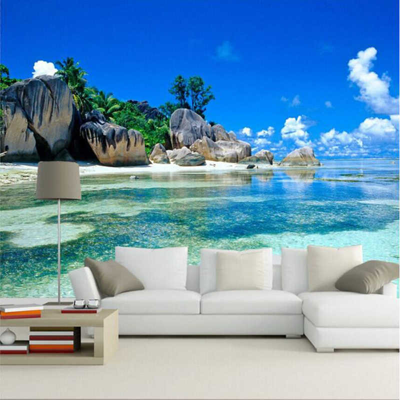 Custom 3D Mural Wallpaper Canvas Bedroom Livig Room TV Sofa Backdrop Wall paper Ocean Sea Beach 3D Photo Wallpaper Home Decor
