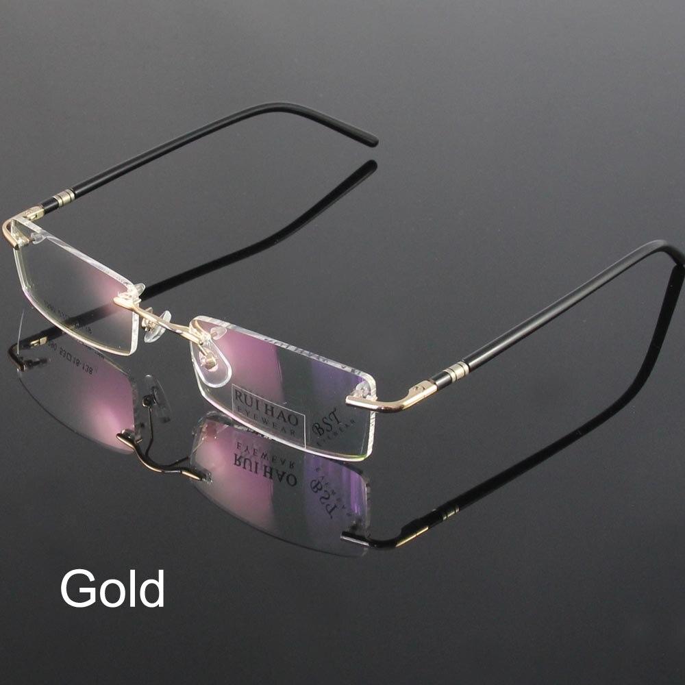ᗑModa gafas unisex gafas marco diseño conciso gafas sin montura ...