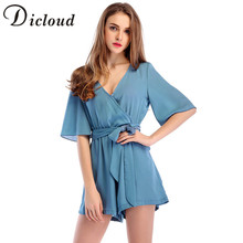 c402b0b71ea DICLOUD 2018 Spring Women Playsuits Series Summer Deep V Neck Half Sleeve  Lace Up Solid Casual