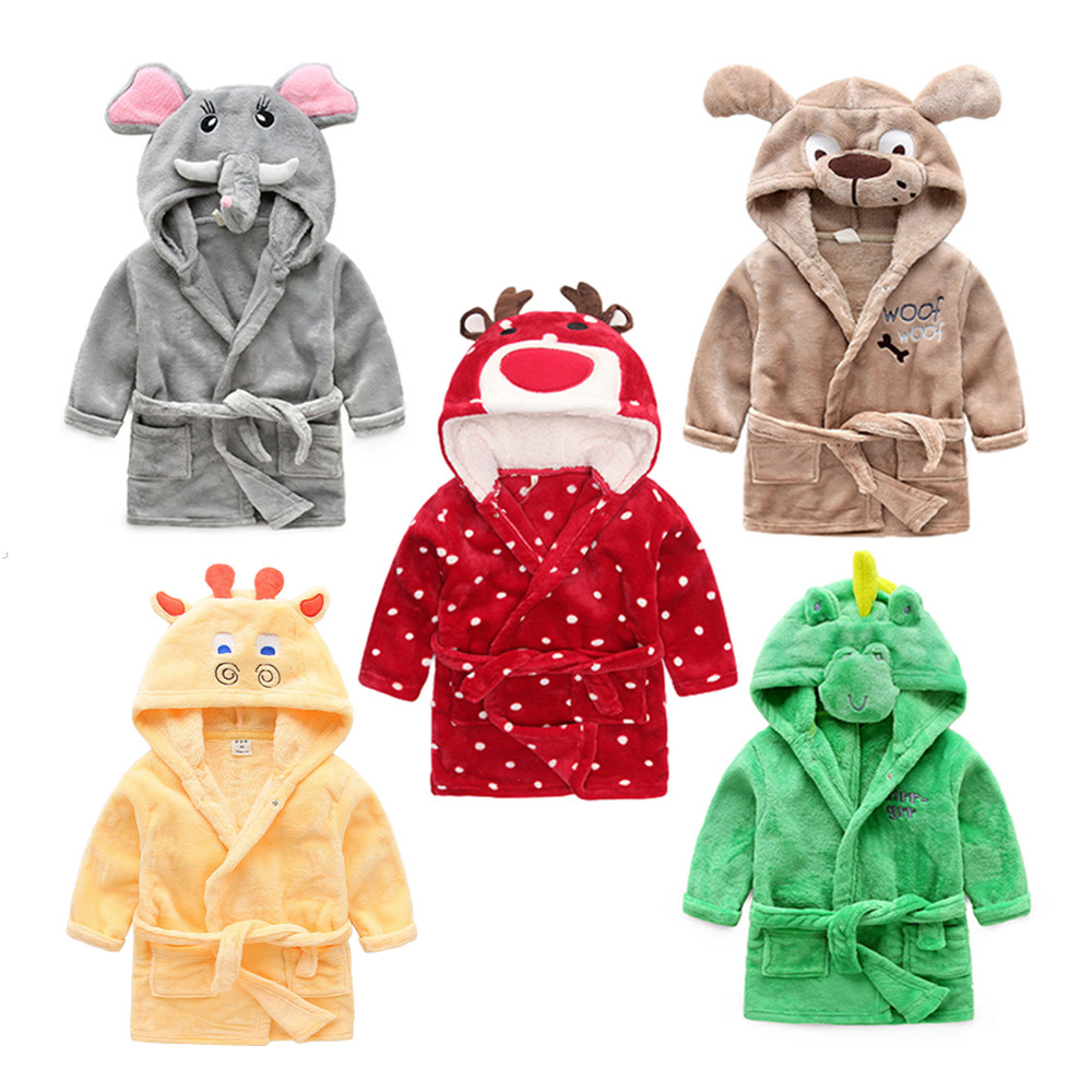 Winter Warm Flannel Children's Bathrobes Cute Cartoon Animal Cosplay Pajamas Bath Robe Sleepwear for 2-6 Years Old Baby Kids