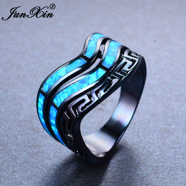 c7b8f3161 JUNXIN Double Layer Blue Fire Opal Ring Black Gold Filled Great Wall  Pattern Finger Rings For