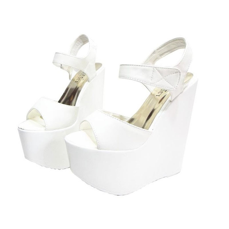 ФОТО 2017 Fashion White Peep Toe Sexy Women Wedges Sandals Extreme High Heels Ladies Pumps Platform Shoes Woman Summer style Blacka