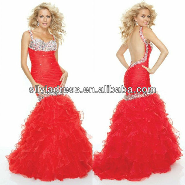 Mermaid Style Red Organza Sexy Backless Beaded Floor Length Ruffled