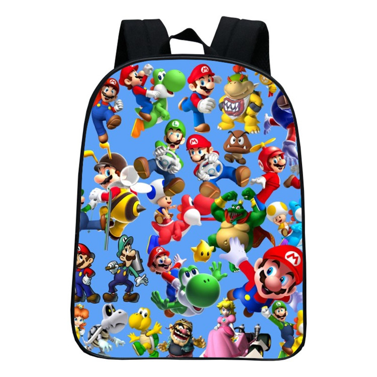 16 Inch Children School Bags Cartoon Doll Super Mario Sonic Backpacks For Boys Girls Mario Bros Bag Students Birthdays Gifts цена