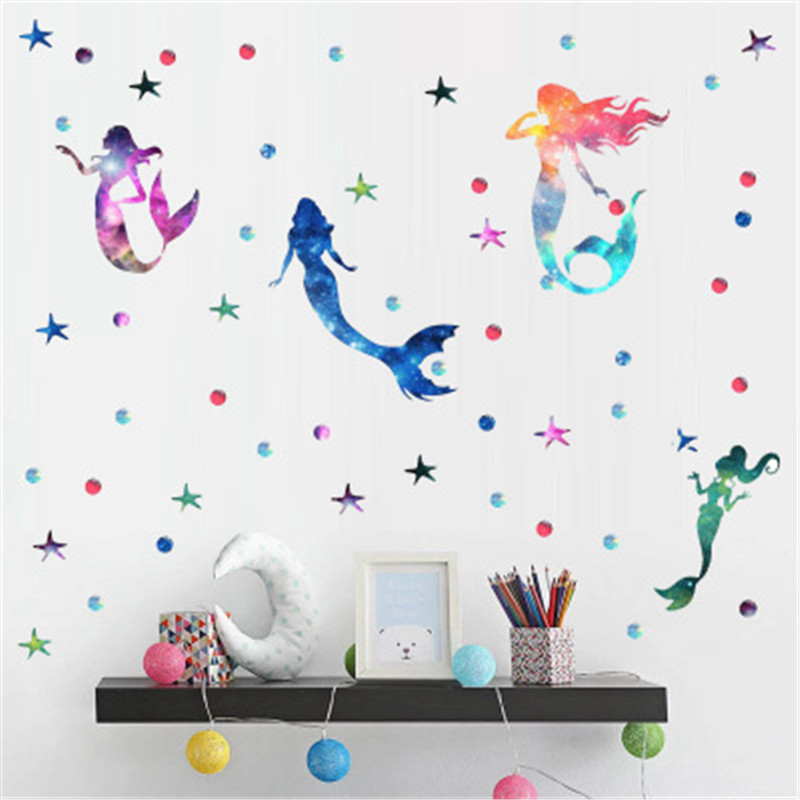 Magic Mermaid Wall Stickers For Kids Rooms Home Decor Baby Room Fish Star Dots Wall Decal Girl Bedroom Decorative Sticker Muraux