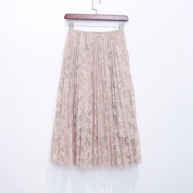 2018 New Summer Skirts Elegant Lace Pleated Skirt Solid 4 Colors Women High Waist Skirt Sexy All-match Spring Skirts Saia Longa