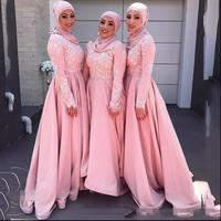 Розовый Длинные Рукава Мусульманских Платья Невесты Длинные Высокая Шея Кружево Аппликация Дубай Женщины Формальные Свадебное Партия Пла