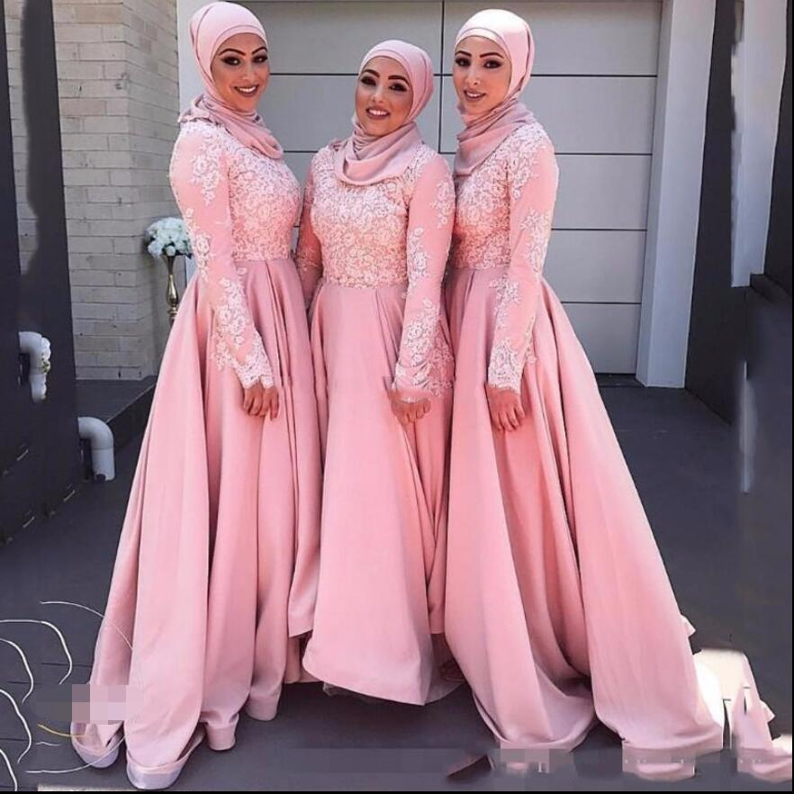 Pink Long Sleeves Muslim   Bridesmaid     Dresses   Long High Neck Lace Appliques Dubai Women Formal Wedding Party Gowns Custom Made