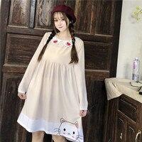Summer Preppy Fashion Kawaii Cat Teenage Girl Dress Women Korean Clothes 2019 Cute Heart Body Doll Collar Long Sleeve Pink Dress