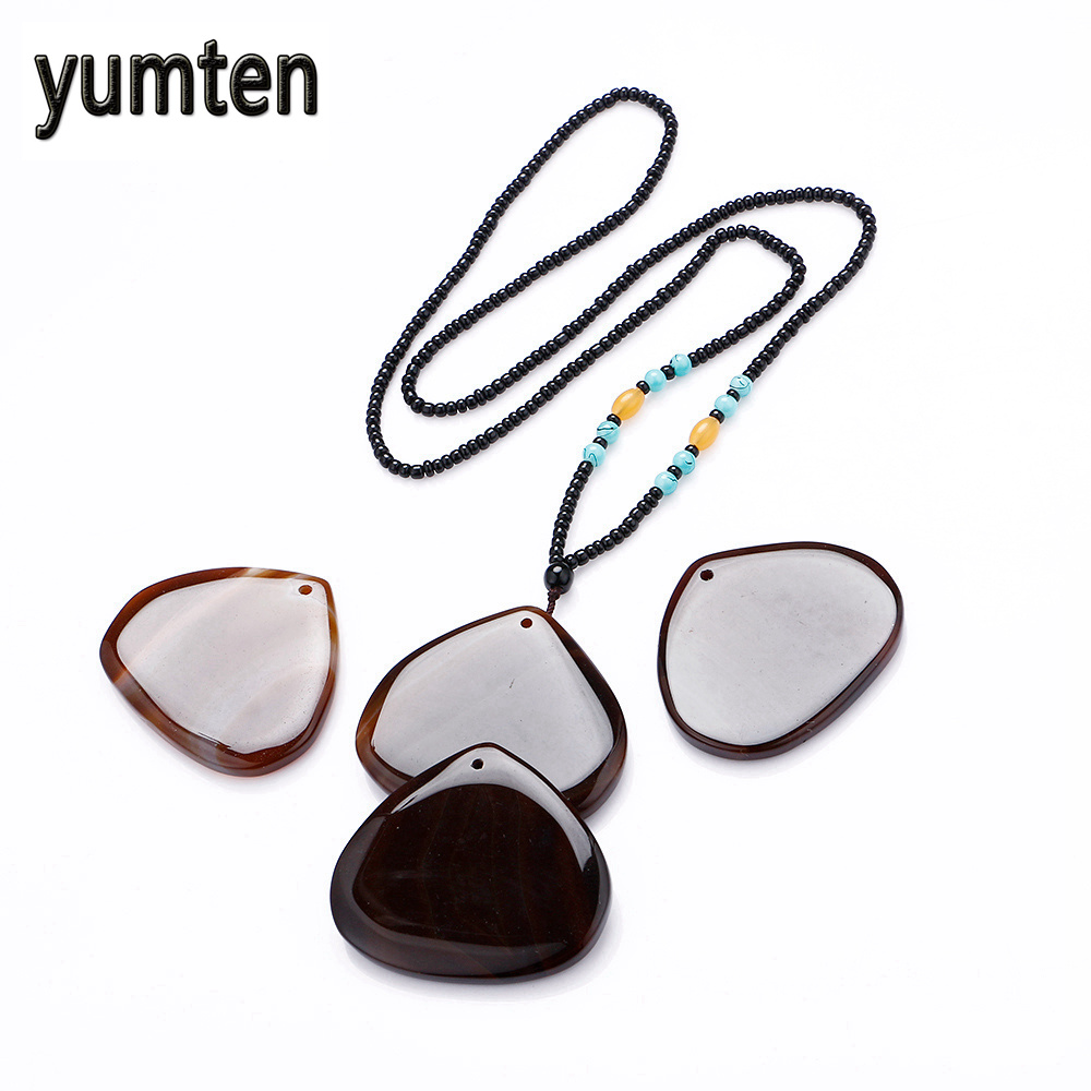 Yumten Agate Pendant Multicolor Peach Shape Gatos Game Of Throne Crystal Slice Beads Men ...