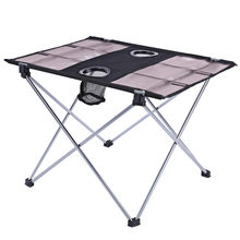 Portable Durable Camping Table Outdoor Aluminium Alloy Foldable Folding Picnic Table Ultralight For Hiking Picnic with bag(China)