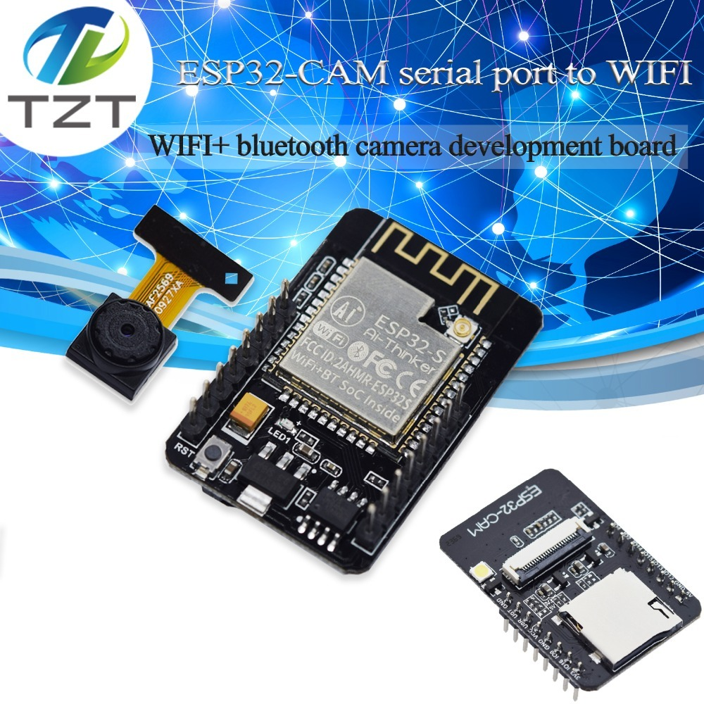 TZT ESP32-CAM WiFi + Bluetooth Module Camera Module Development Board ESP32 With Camera Module OV2640 2MP For Arduino