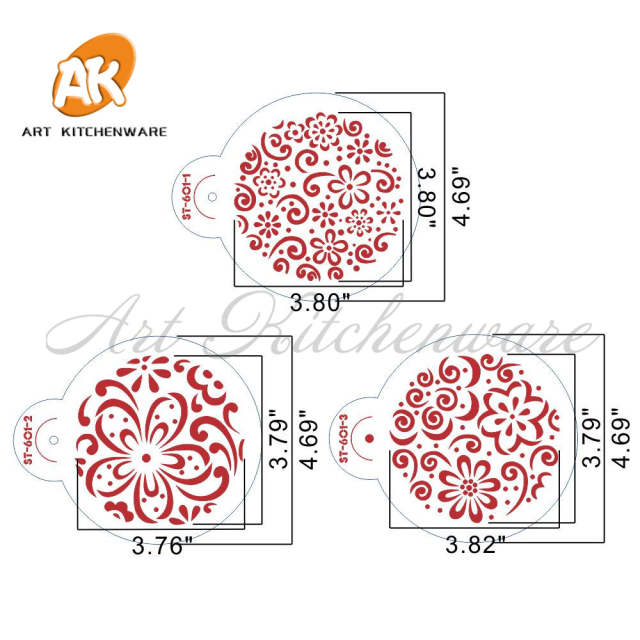 Online Shop 3 8 Color Splash Cookie Stencil Flower Cake Design