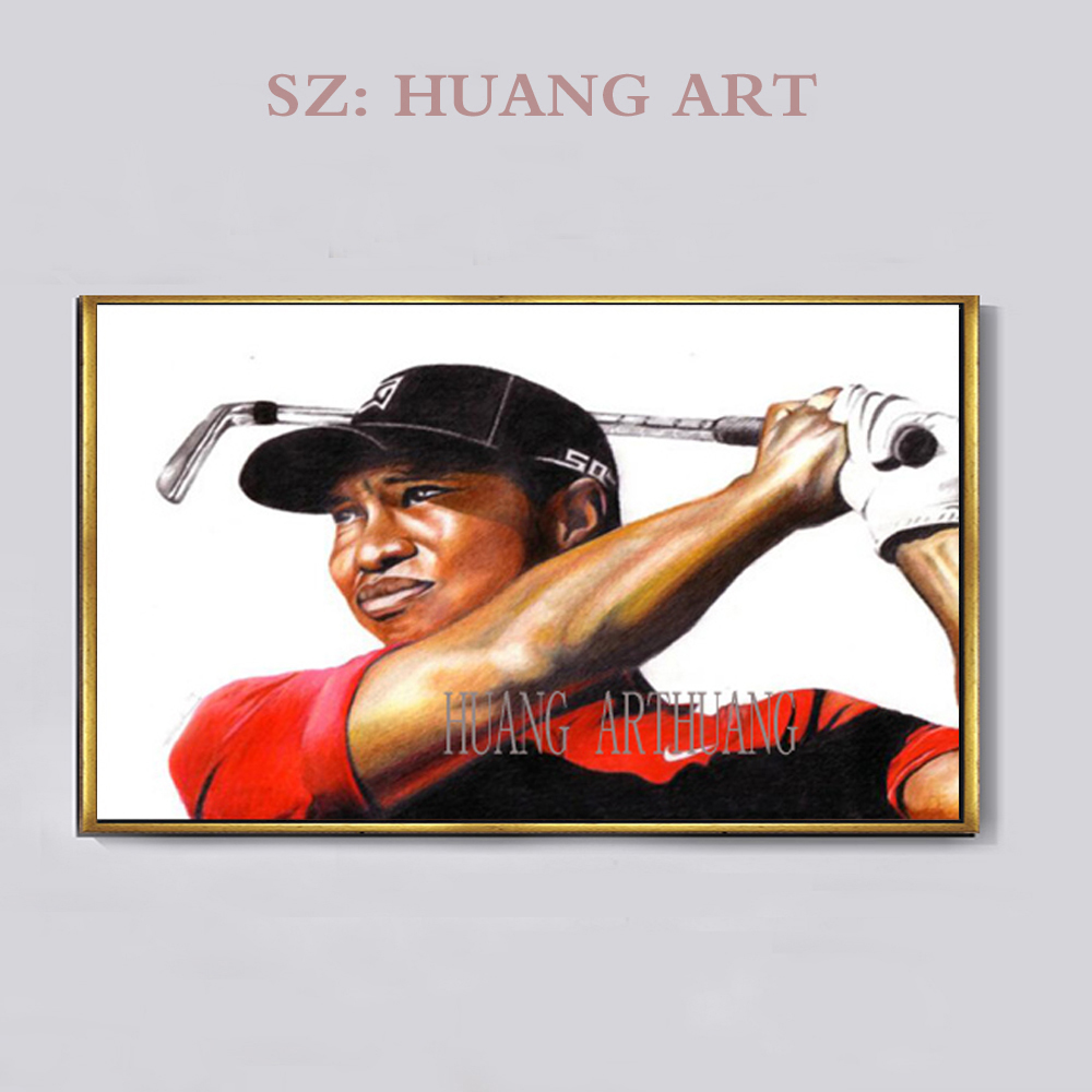 Fabricants de peinture en chine art peinture si belle petit garçon joue Golf peinture à l'huile sur toile stickers muraux pour les chambres d'enfants