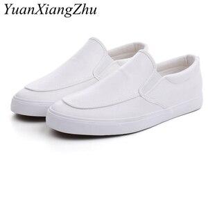 Image 2 - Mode Mannen Loafers Slip Op Casual Lederen Schoenen Heren Comfortabele Mocassins Schoenen Ademende Sneakers 2019 Nieuwe Zwart Wit Flats