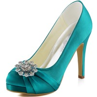 EP2015 PF Navy Blue Evening Women Bridal White Party Platforms High Heel 4 Pleat Rhinestones Satin