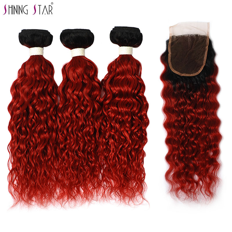 Ombre 3 Bundles With Closure Water Wave 1B Red Ombre Human Hair Weave With Closure Peruvian