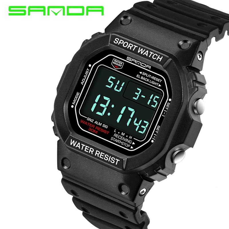 2018-ի նոր SANDA տղամարդկանց ժամացույցներ թվային ժամացույց տղամարդկանց ռազմական անջրանցիկ օրացույցով LED սպորտային ժամացույց relogio masculino