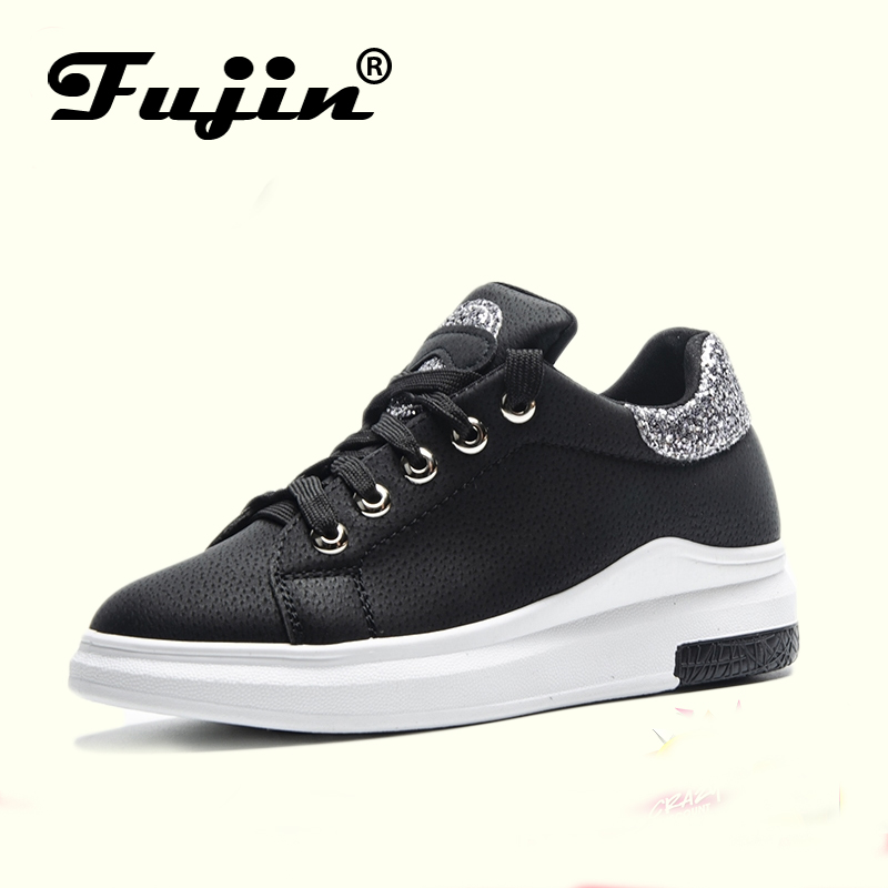 Fuijin 2018 Spring Summer Autumn women Fashion sneakers female casual shoes platform PU leather classic cotton lace up shoes сандалии basconi сандалии