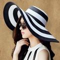 2016 mujeres del verano gran sombrero de ala playa de moda blanco negro señora sombrero de paja al aire libre sombrero de sol a rayas estilo