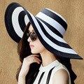 2016 summer women big brim beach hat fashion white black striped sun hat lady straw outdoor hat style