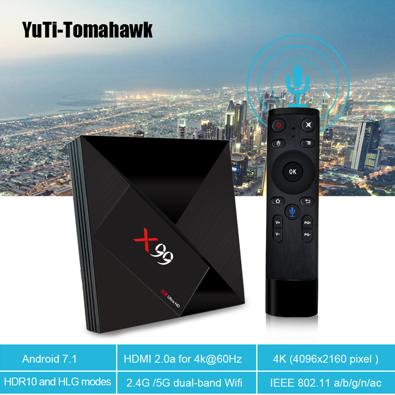 Geleerd Mini Pc 4 Gb 32 Gb Rockchip Rk3399 Android 7.1 Tv Box X99 Met Voice Remote 2.4g/5g Dual Wifi Bt4.1 4 K Smart Set Top Box X99