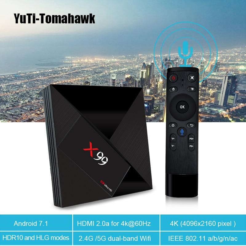 MiNi PC 4GB 32GB Rockchip RK3399 Android 7.1 TV BOX X99 With Voice Remote 2.4G/5G Dual WIFI BT4.1 4k Smart Set Top Box X99
